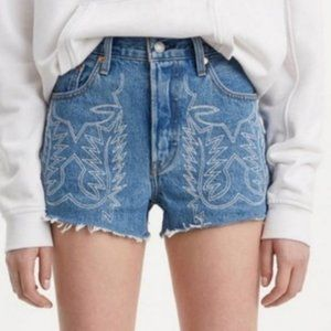 Levi's Premium 501 High Rise Embroidered Shorts 26